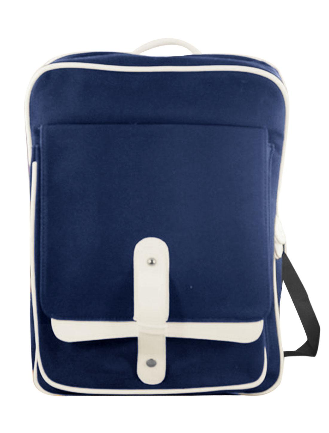 Men Zip Fly Button Closure Adjustable Shoulder Straps Backpack Dark Blue