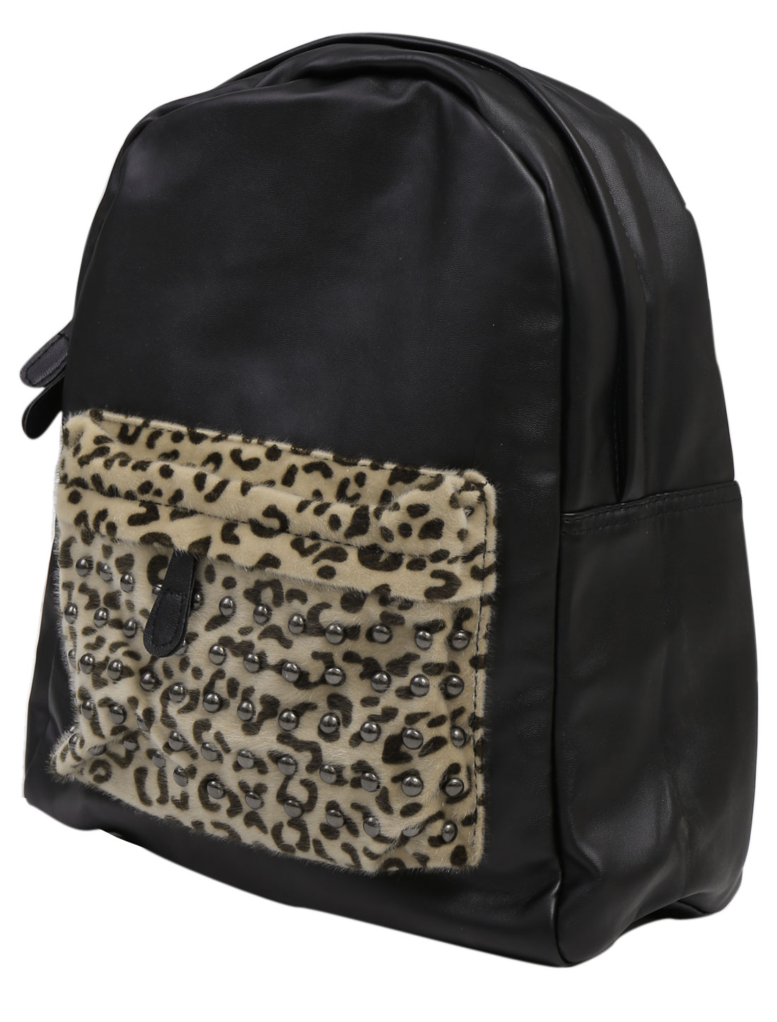 Men Zip Fly Adjustable Shoulder Straps Leopard Prints Backpack Black
