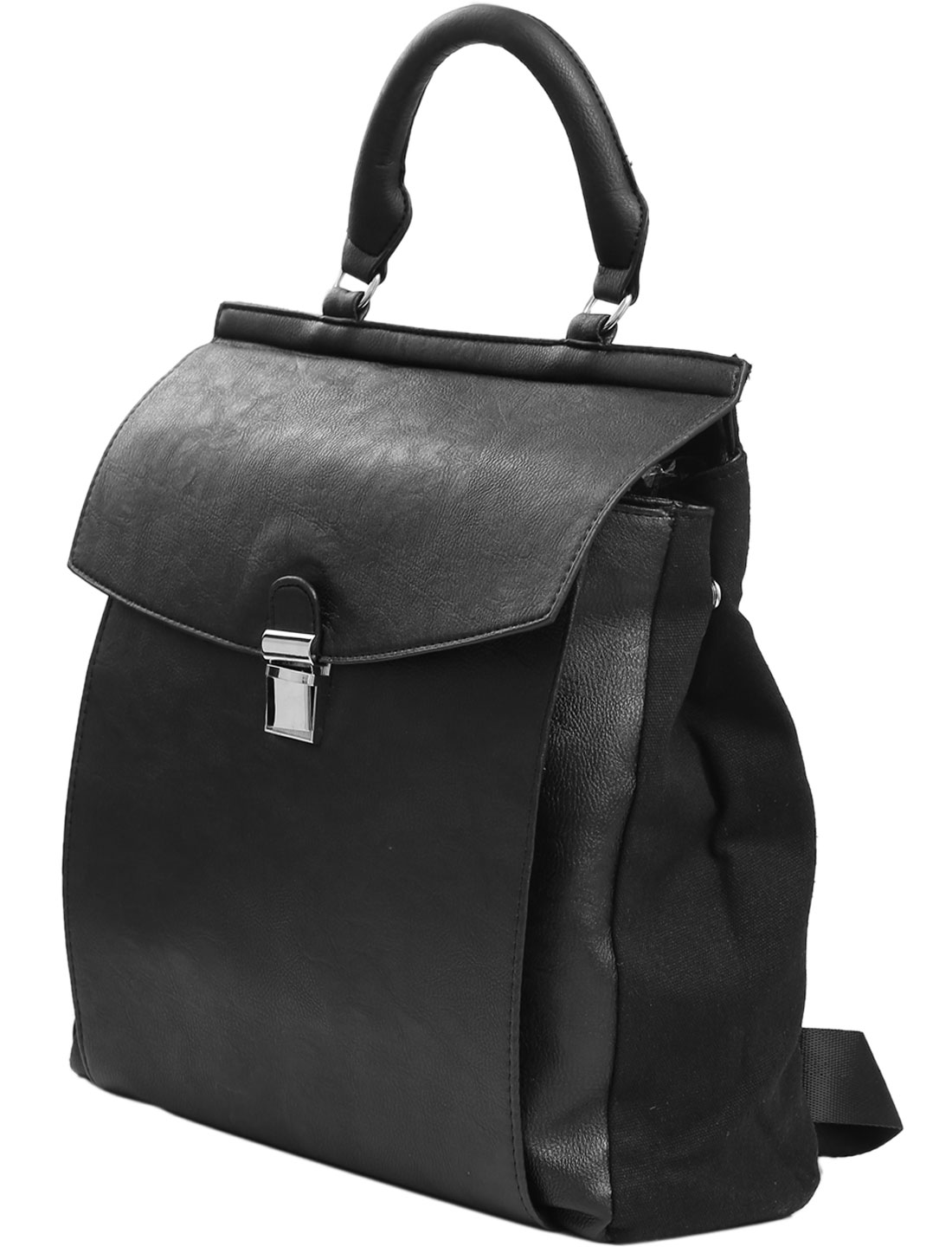 Men's Push Lock Closure Imitation Leather Backpack Black