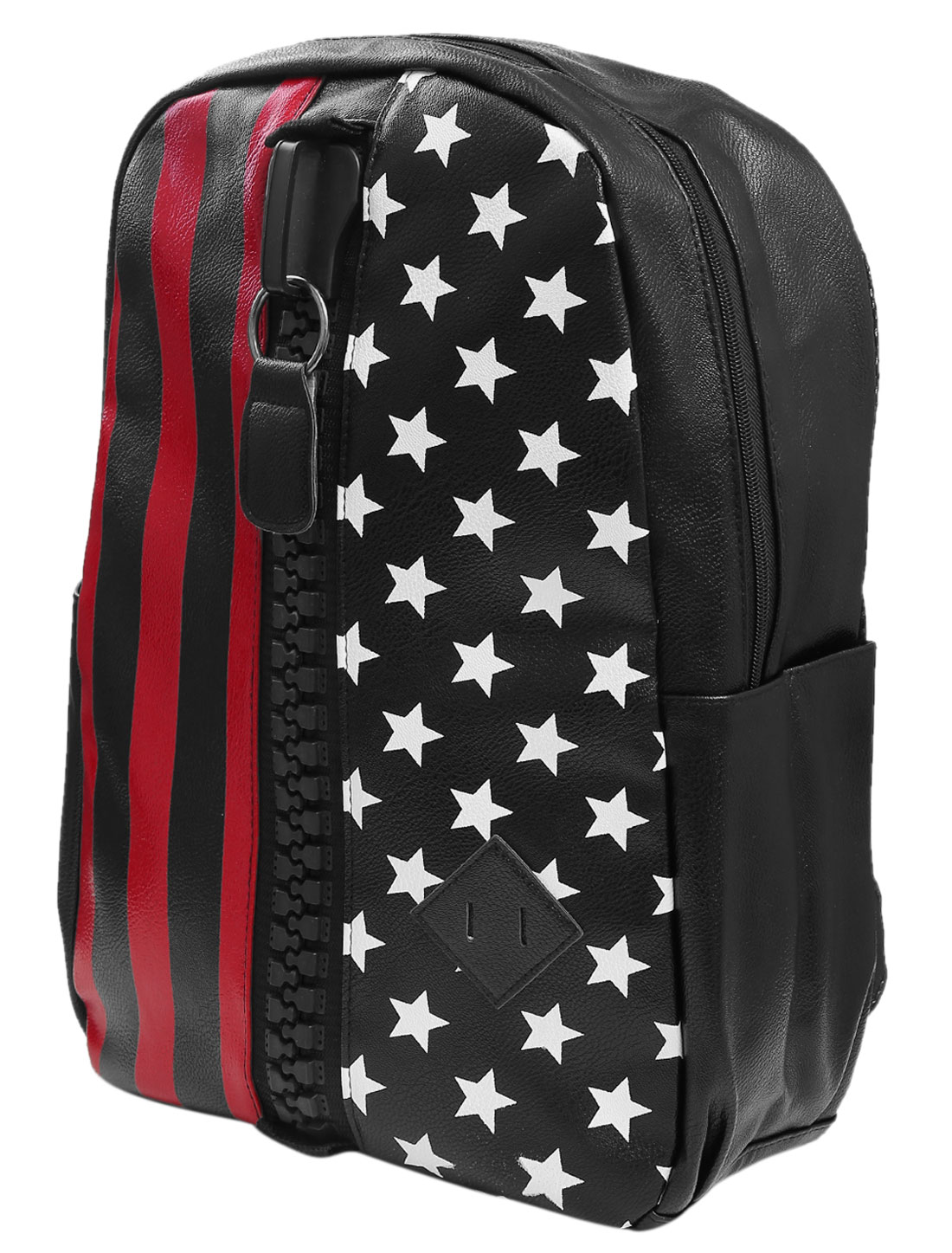 Man Zip Up Closure Imitation Leather Stars Stripes Print Backpack Multicolor
