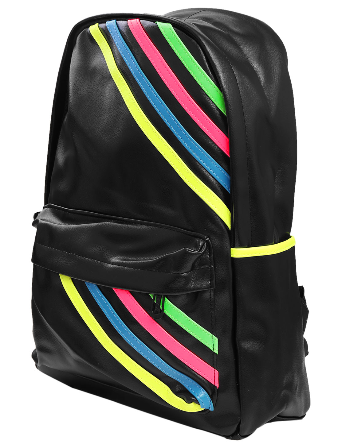 Man Zip Up Closure Imitation Leather Stripes Print Backpack Black