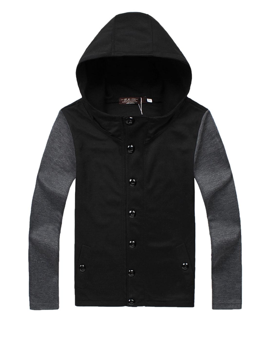 Man's Single Breasted Long Sleeve Hoodie Sweatshirt w Hip Pocket Pants Black S