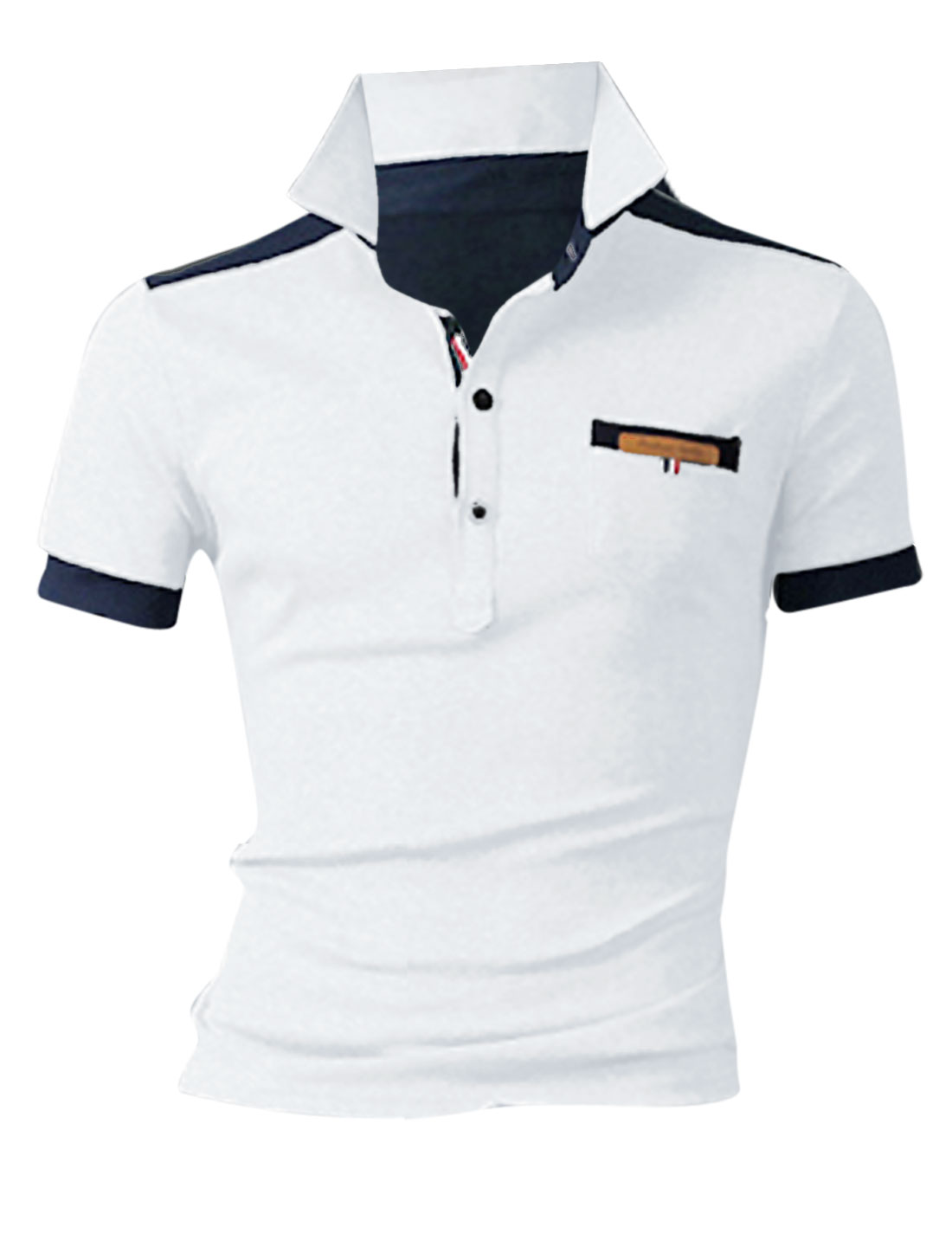 Men Convertible Collar Short Sleeve Leisure Polo Shirt White M