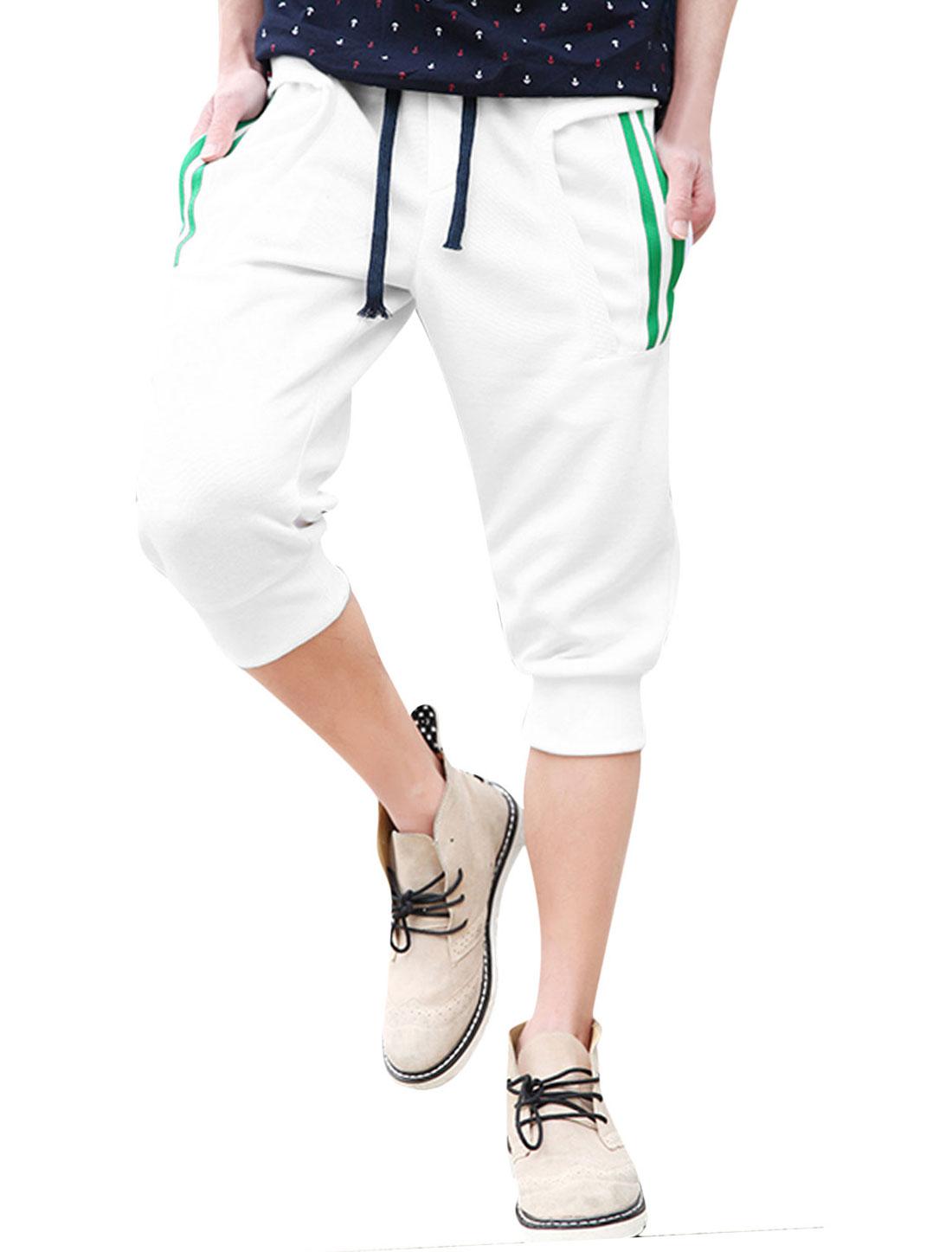 Men Drawcord Waist Zipped Pocket Back Capris Pants White W30