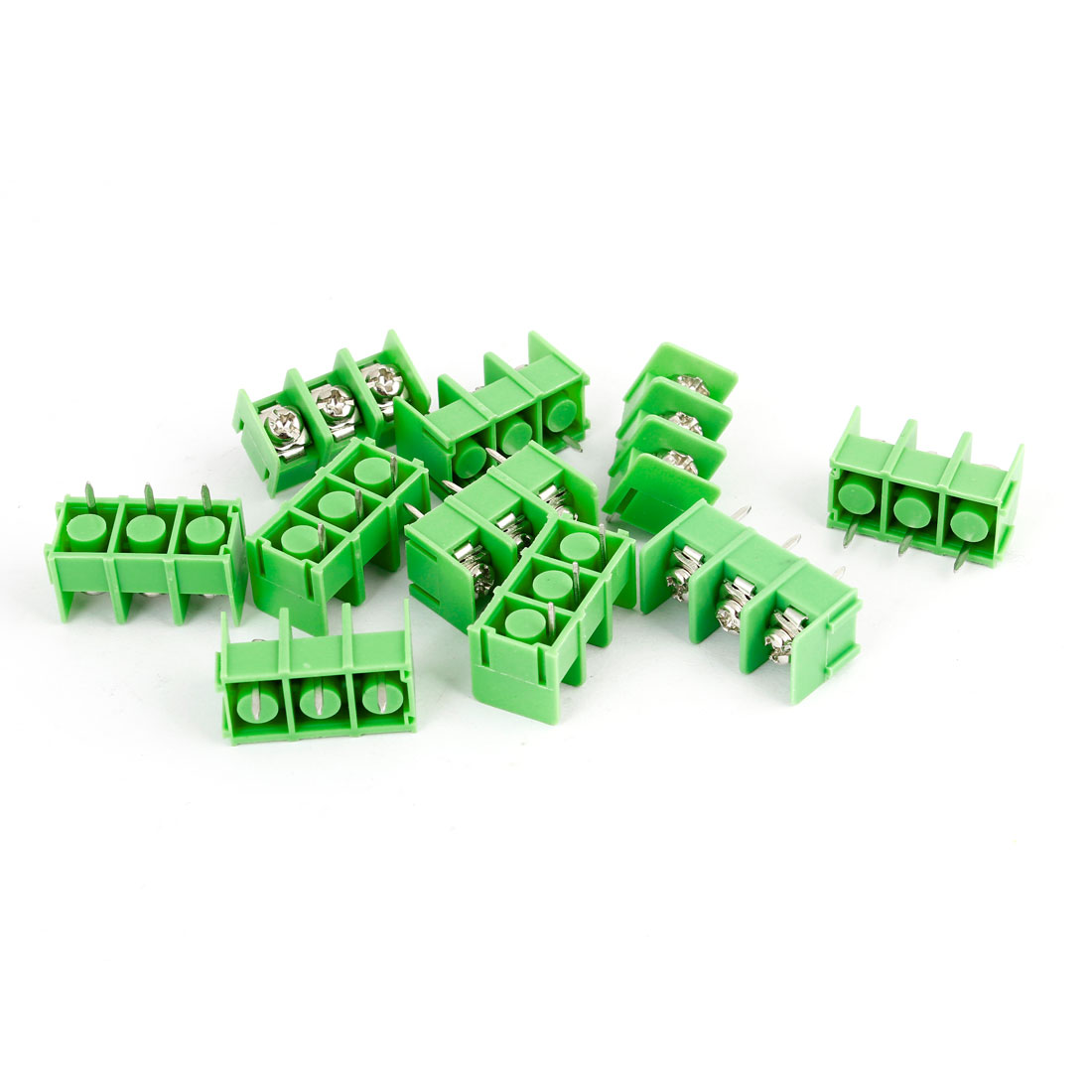 10pcs Green 3 Pin 7.62mm Single Row Screw Pluggable Terminal Block Straight Connector 300V 20A
