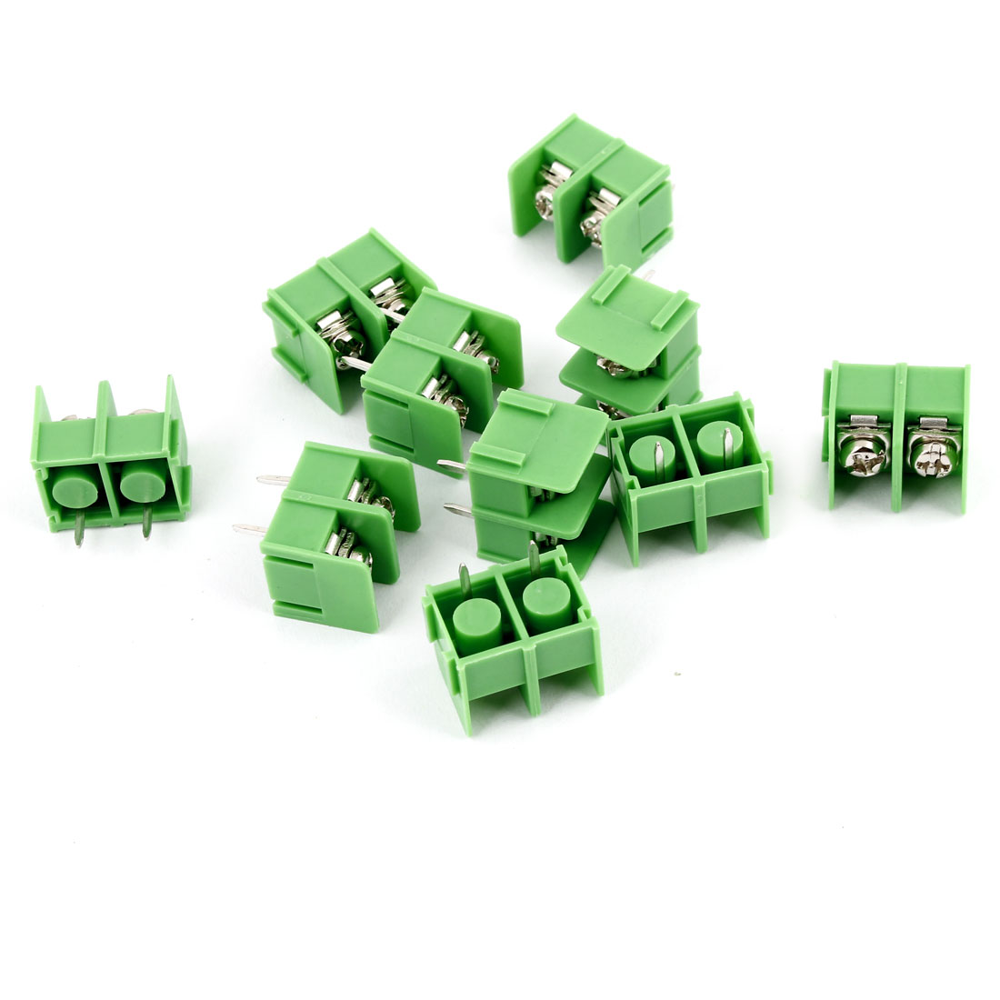 10pcs Green 2 Pin 7.62mm Single Row Screw Pluggable Terminal Block Straight Connector 300V 20A