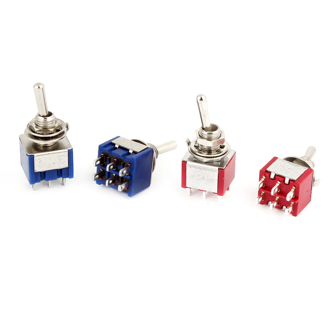 4 Pcs Switching Light Toggle Switch 2 Positions 6Pins DPDT AC 125V 6A