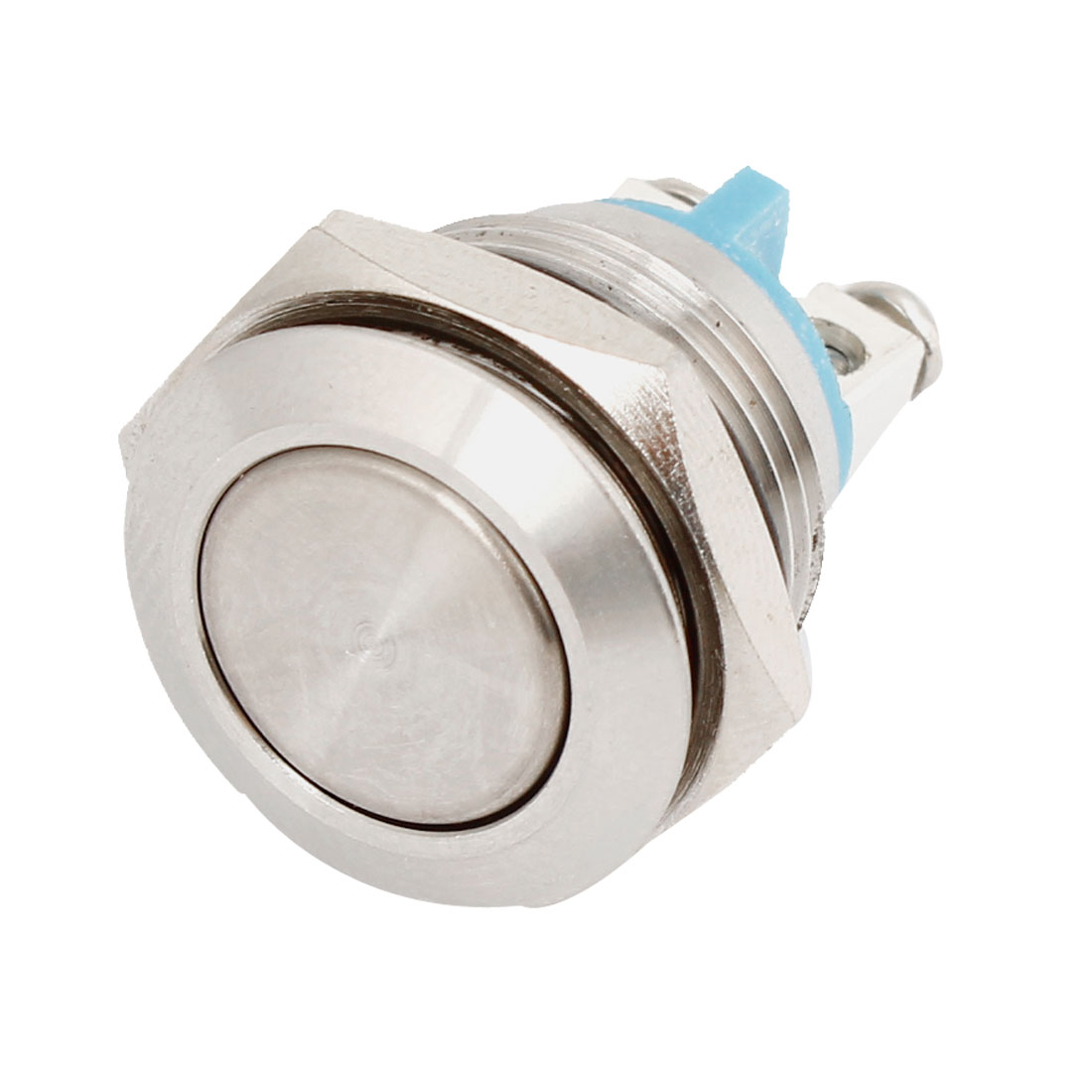 Momentary SPST 19mm Panel Cutout 2 Screw Terminals Stainless Steel Flat Head Push Button Switch