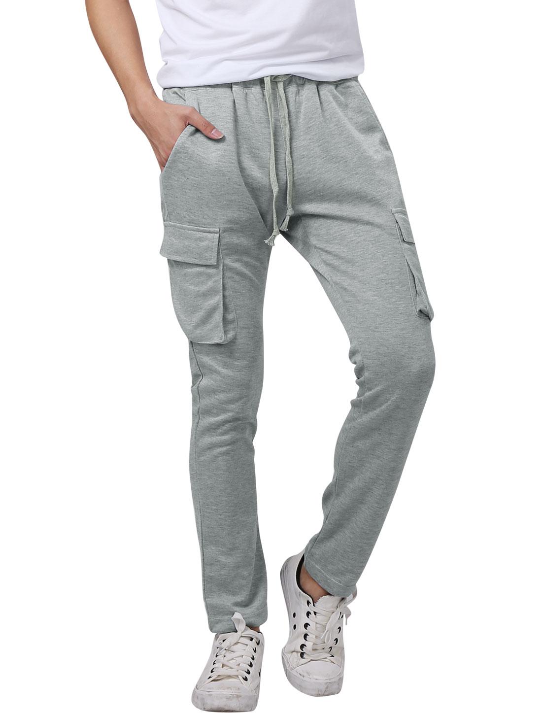 Men Elastic Waist Welt Pockets Back Casual Trousers Light Gray W34