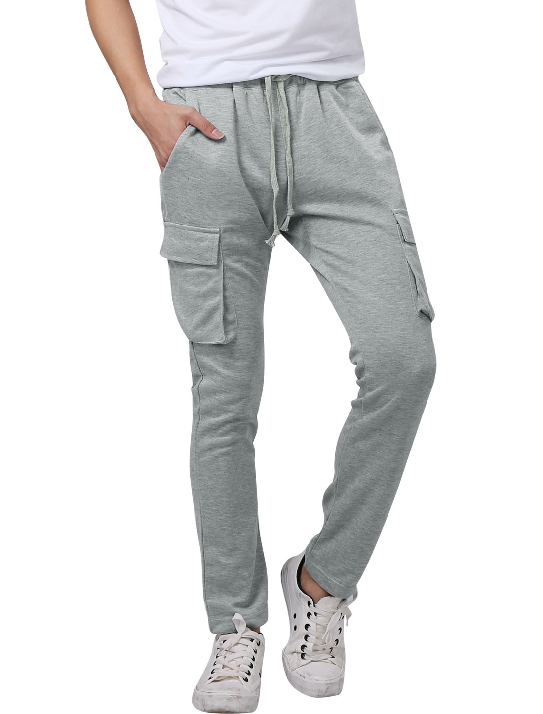 Men Drawcord Waist Flap Pockets Side Leisure Pants Light Gray W36