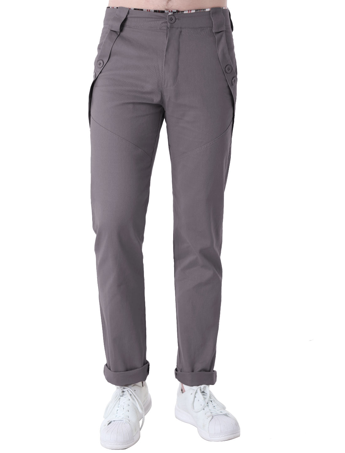 Men Fashion Buttons Decor Zipper Up Closure Pants Medium Gray W34