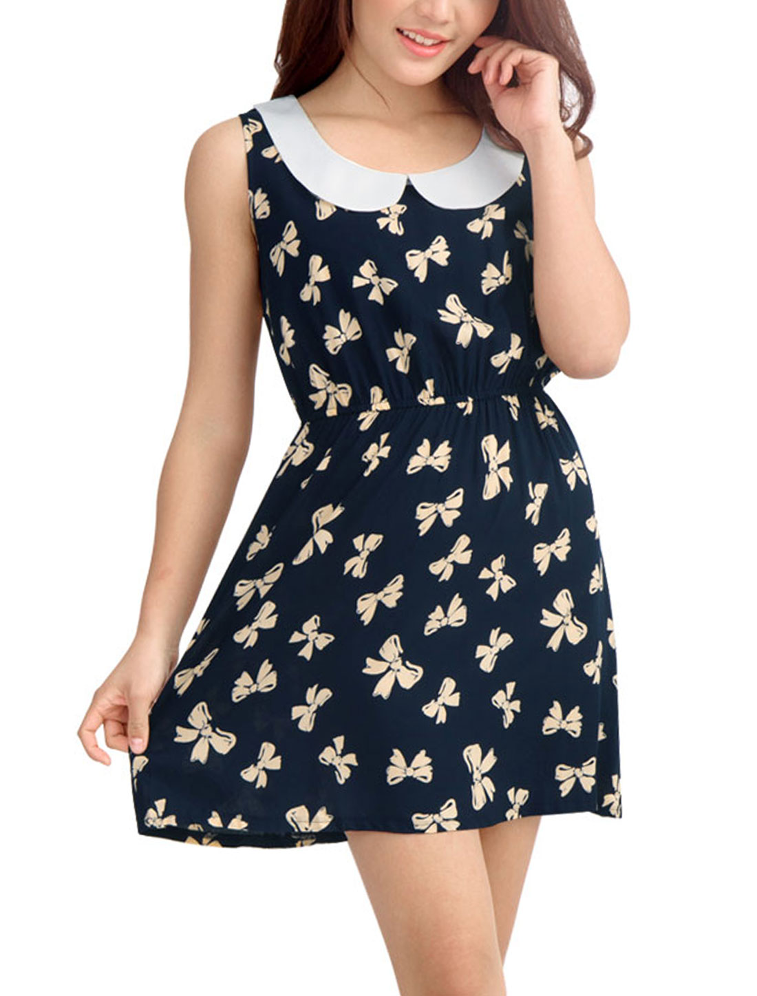 Women Elastic Waist Peter Pan Collar Sweet Tank Dress Dark Blue XL