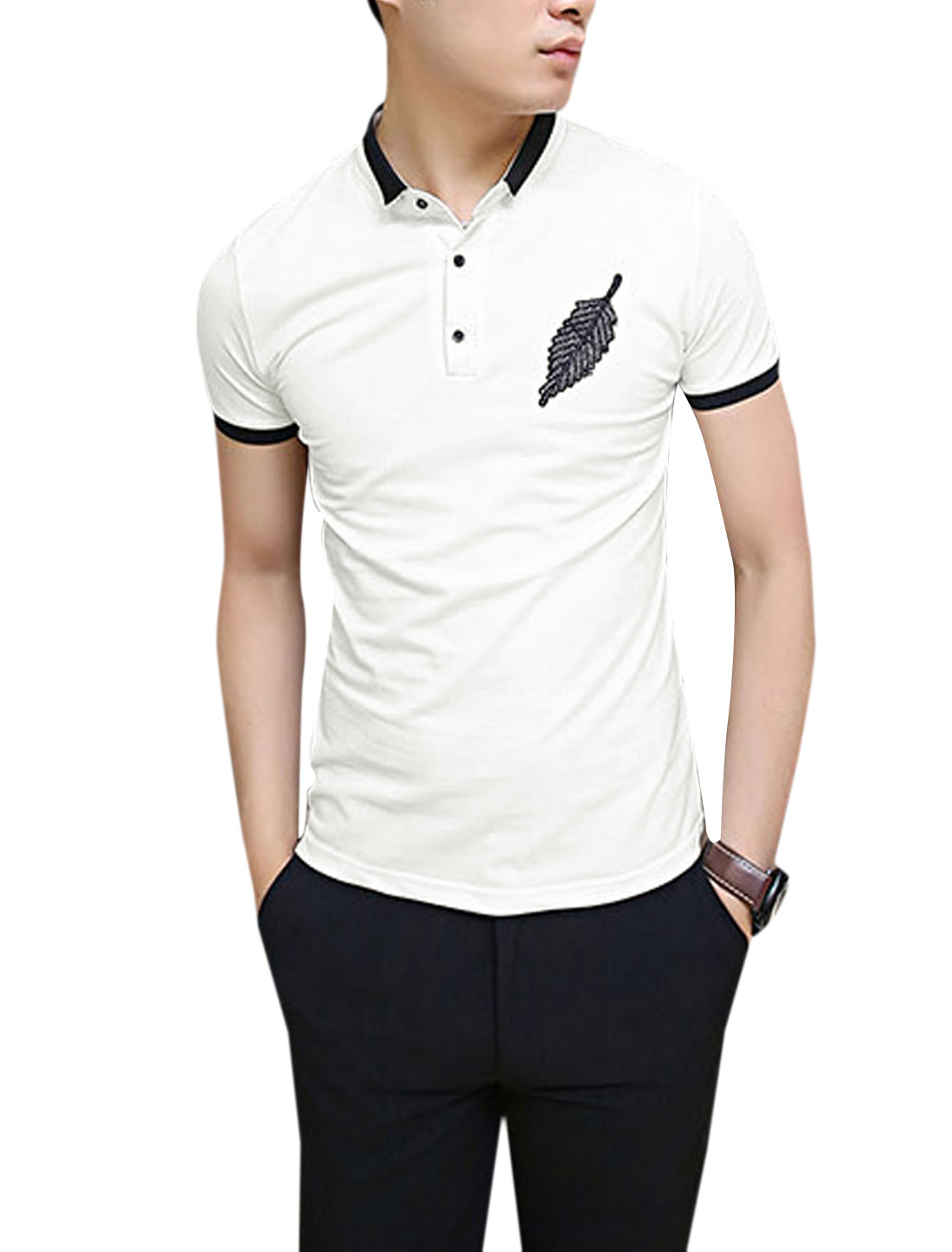 Men Convertible Collar Leaf Embroidery 1/4 Placket Chic Polo Shirt White M