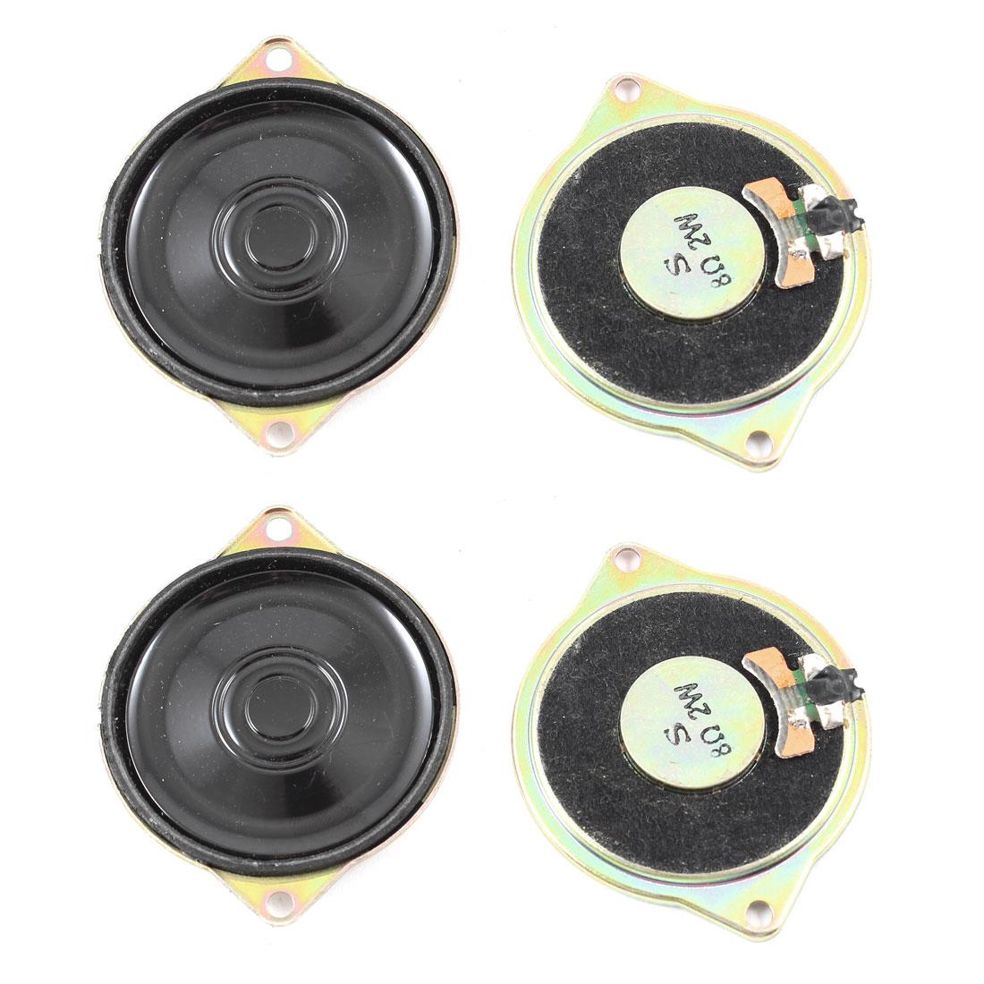 2W 8 Ohm Metal Housing Round Internal Magnet Speaker Loudspeaker Horn 4Pcs