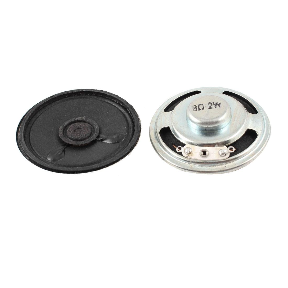 2 Pcs 2W 8 Ohm 50mm Dia Laptop Metal Housing Magnet Speaker Amplifier Loudspeaker