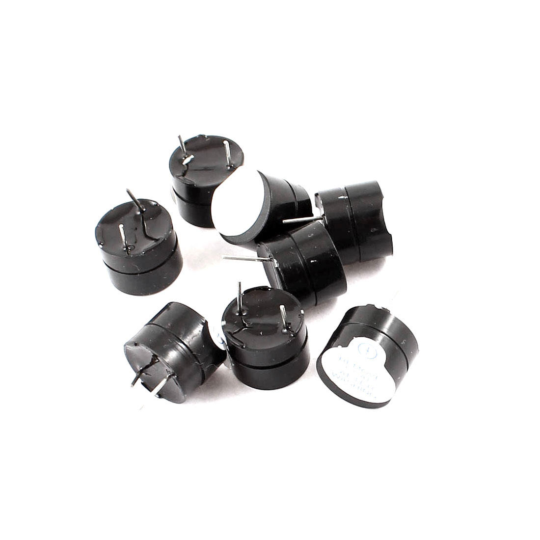 8pcs Black Industrial Electronic Continuous Sound Buzzer DC5V 12x9.5mm
