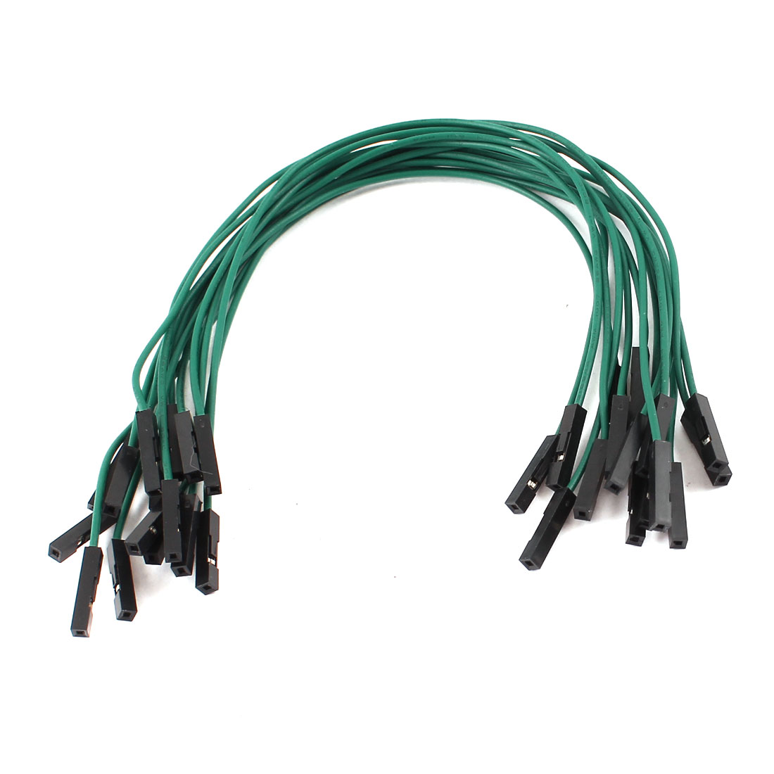 15 Pcs 20cm Length Double Head 1pin Female Jack Connector Jumper Cable Green