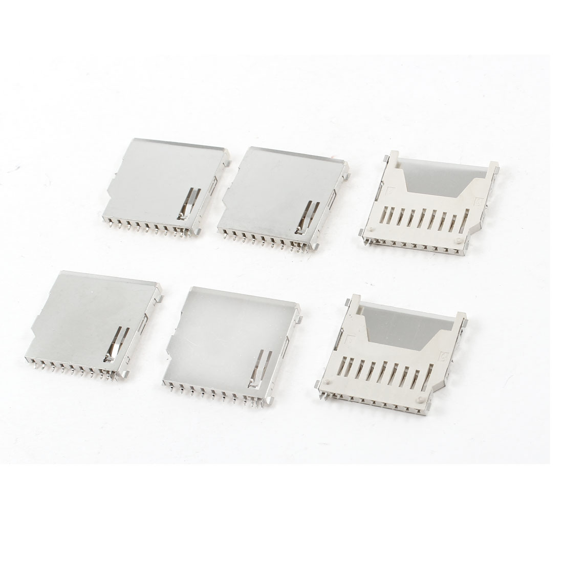 6 Pcs Stainless Steel SD Memory Card Sockets DIY Connectors Slot