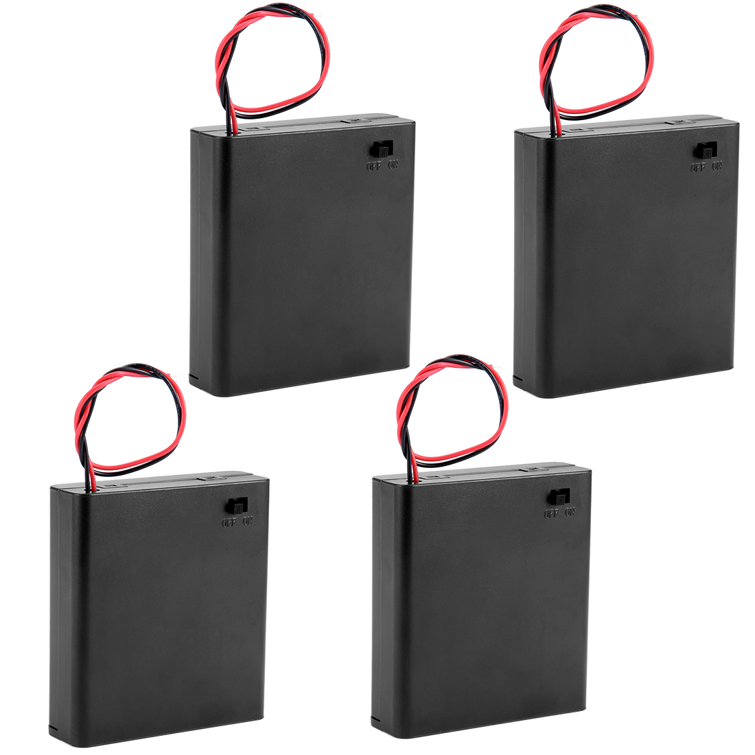 4Pcs Plastic Shell 4 x 1.5V AA Batteries Battery Holder Case Box w Cover