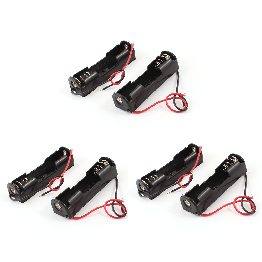 6 Pcs Wired Lead 1 x 1.5V AA Battery Holder Plastic Case Storage Box Black