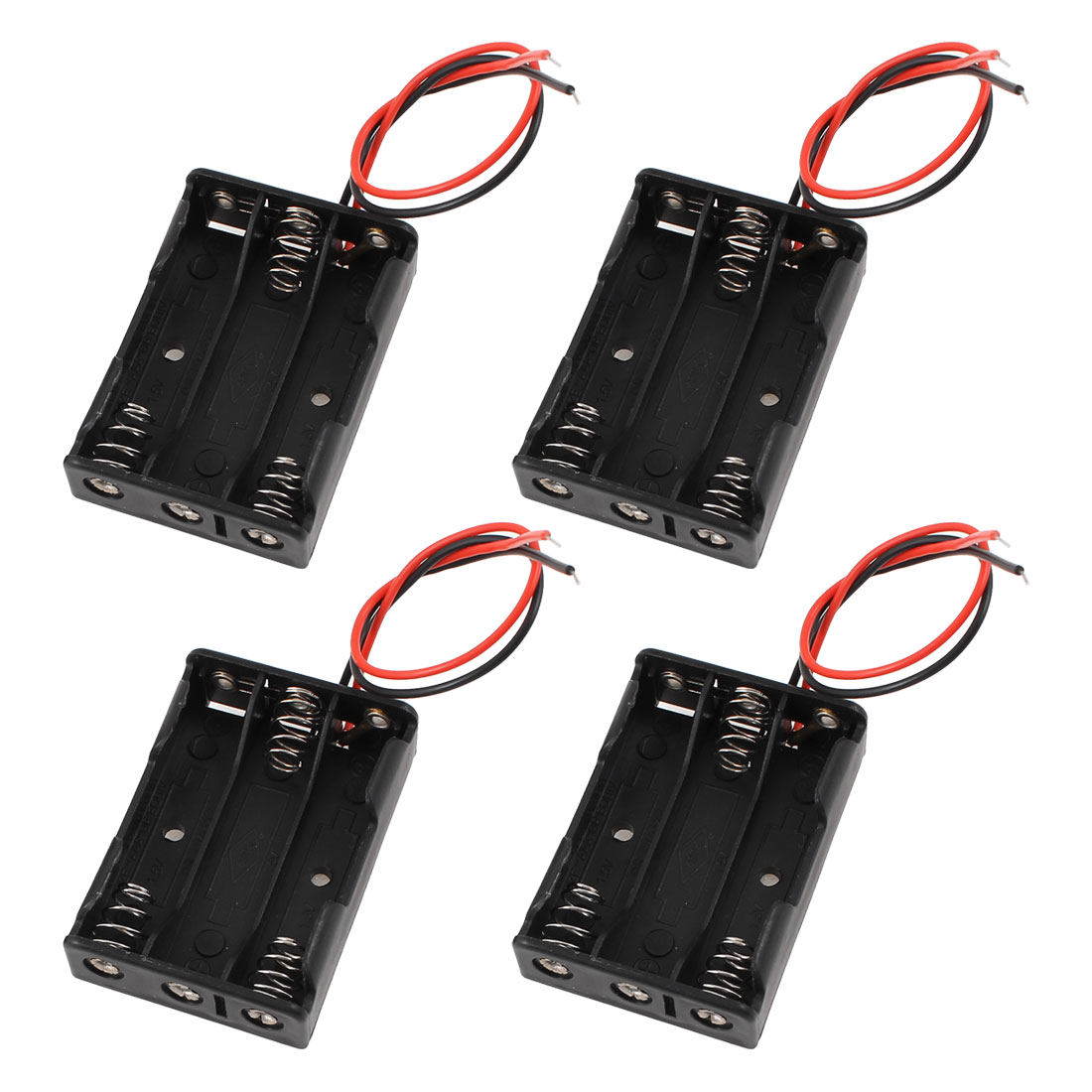 4 Pcs Wires Connector 3 x 1.5V AAA Battery Holder Plastic Case Storage Box