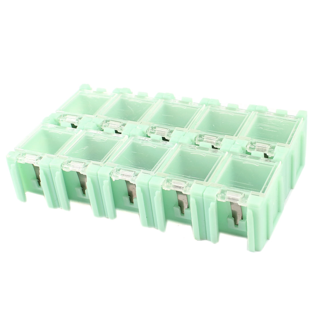 10Pcs Plastic Storage Box Electric Components Case Light Green