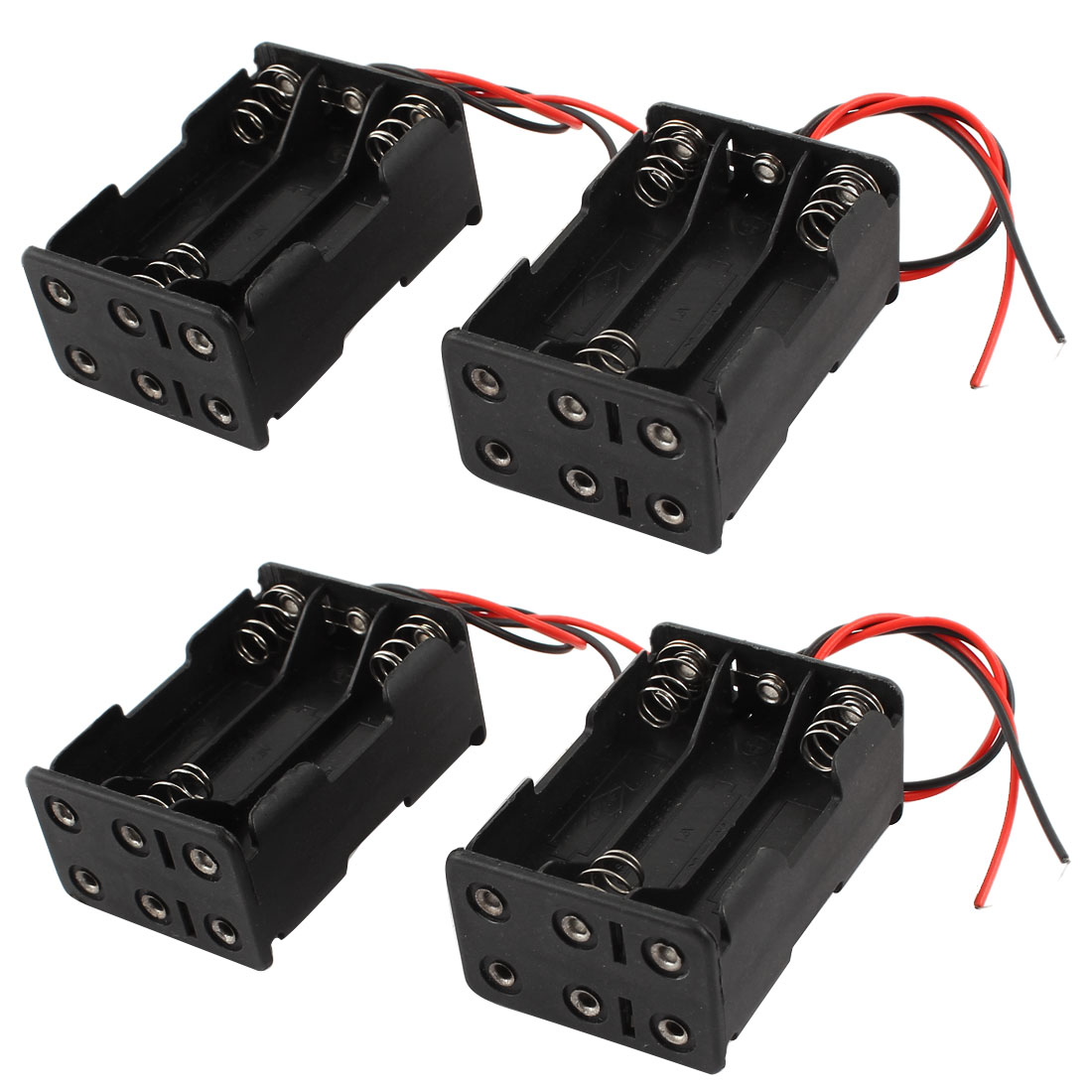 4 Pcs Wired 6 x 1.5V AAA Battery Holder Plastic Case Storage Box Black