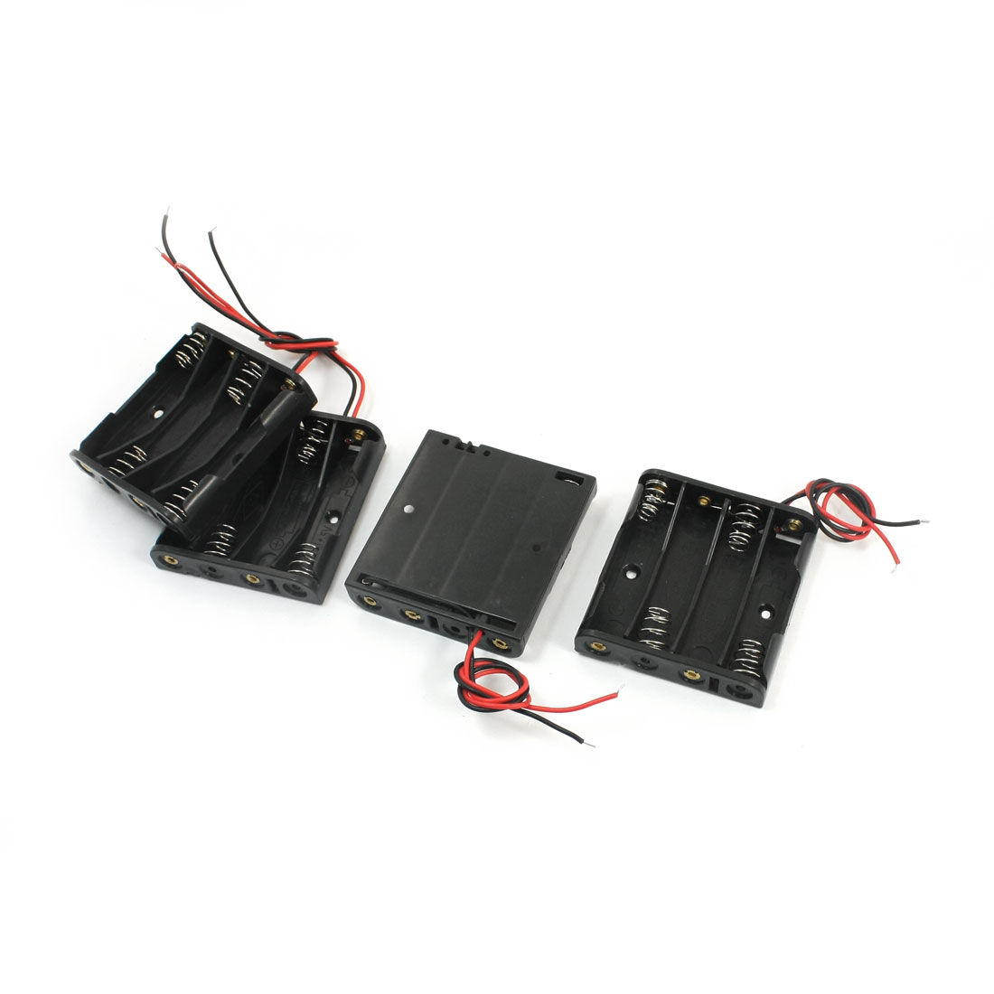 4Pcs 4 x 1.5V AAA Wire Leads Black Plastic Spring Clip Battery Holder 54mm x 50mm x 12mm