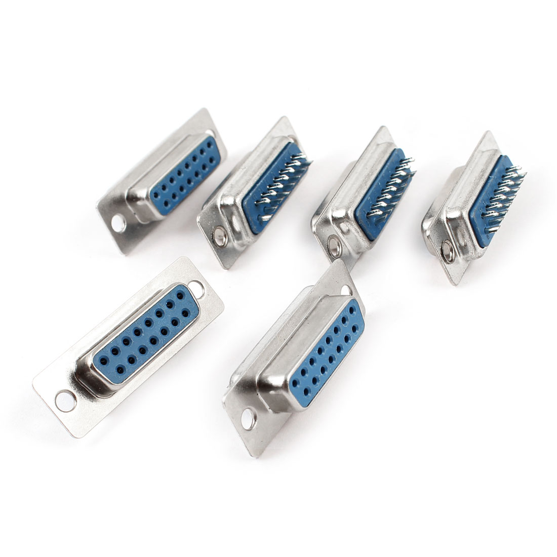 6 Pcs DB15 DB-15 Dual Row 15-pin Female Connector VGA Cable Adapter Interface
