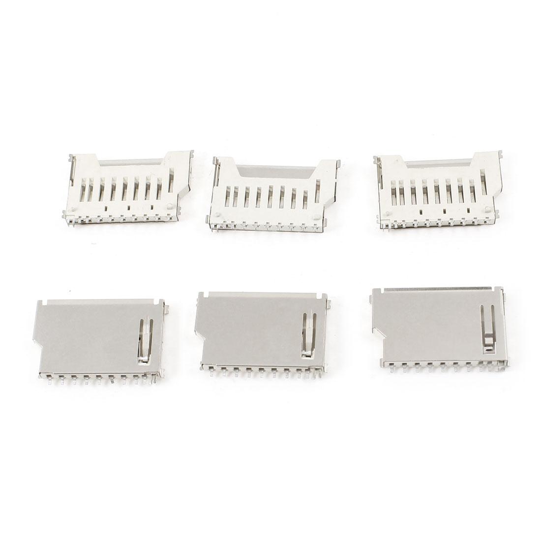 6 Pcs Metal Housing TF Micro SD Memory Card Sockets Connectors Slot