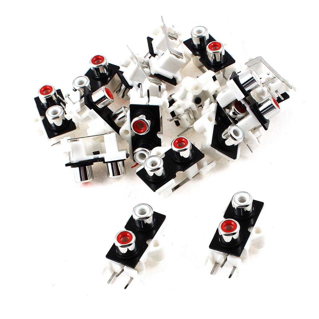 15 Pcs PCB Mount 2 RCA Female Outlet Jack Audio Video AV Connector Socket
