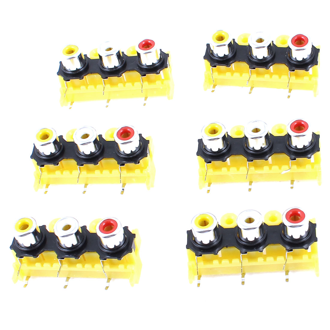 6Pcs DVD Speaker 3 RCA PCB Mount Female Outlet Jack Connector Socket