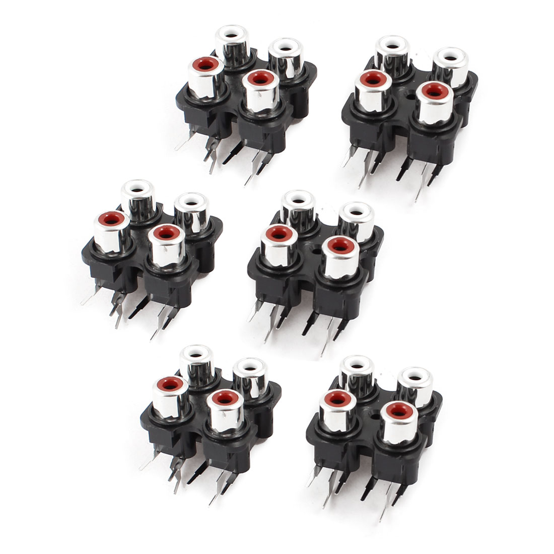 6 x PCB Mount AV Concentric Outlet 4 RCA Female Socket Jack Connector Board
