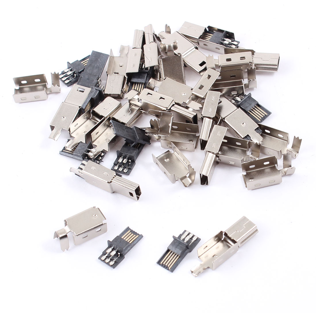 15pcs Mini USB 5 Pin Male Jack Connector Solder Adapter w Metal Cover