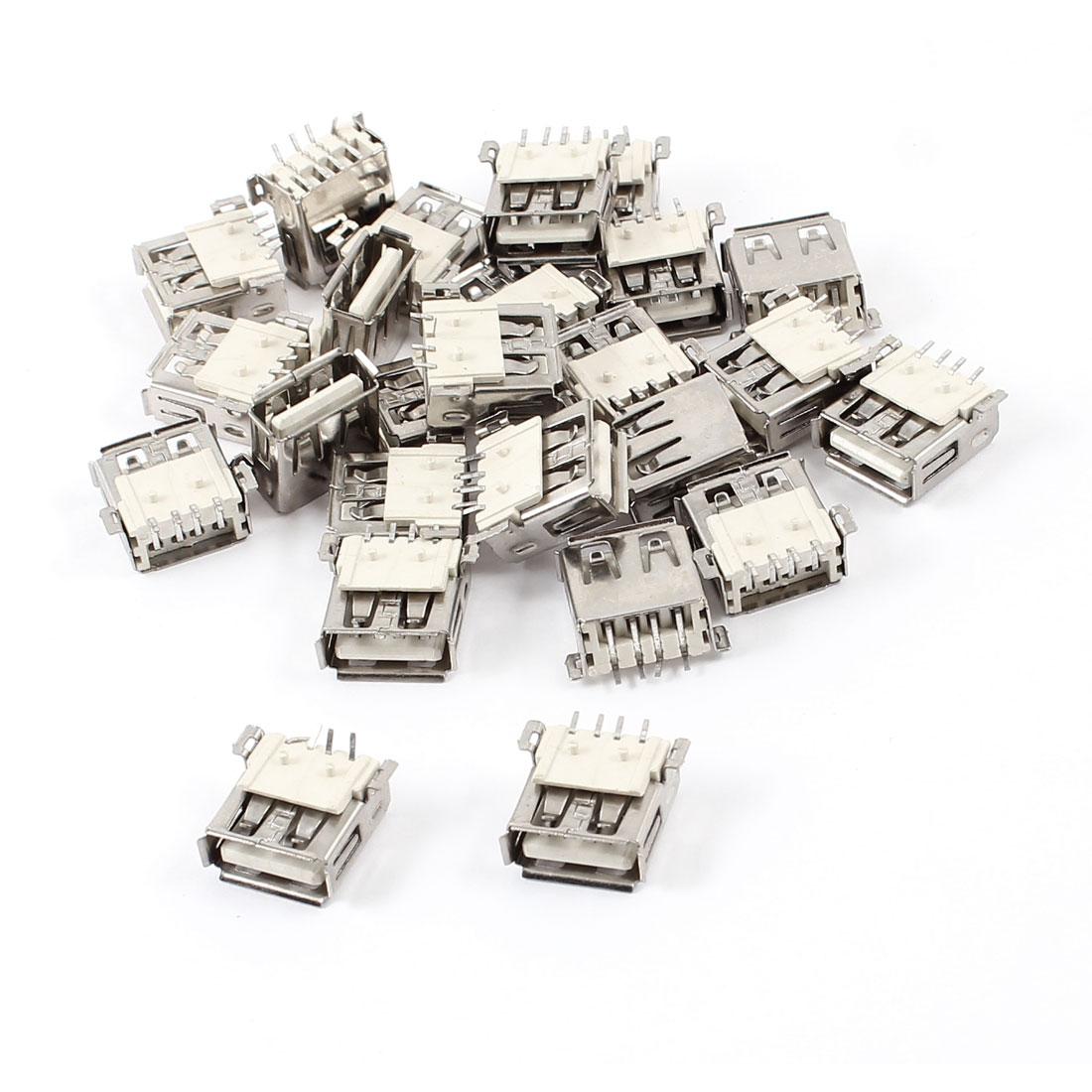 25 Pcs USB Female Type A Port SMT 4-Pin 90 Degree Jack Socket Connector
