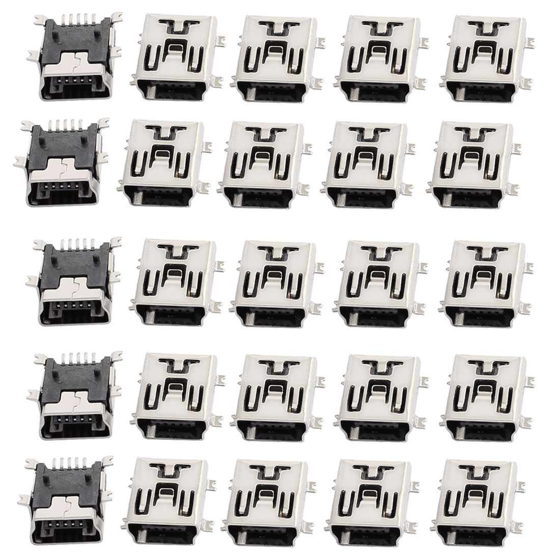 25pcs Mini USB 5 Pin Type B DIP Panel Mount Female Jack Socket Connector Adapter
