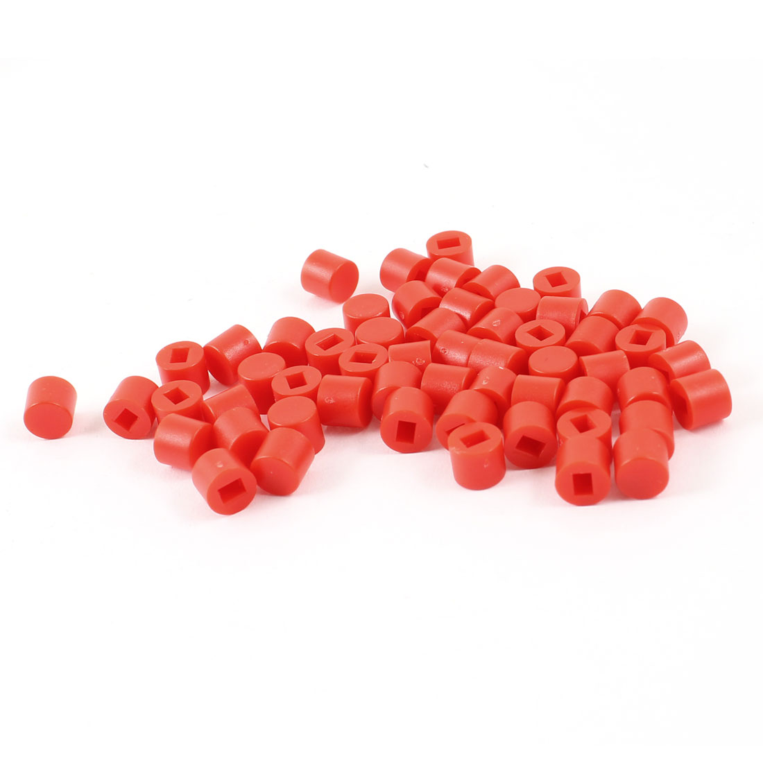 55 Pcs Round Micro Tactile Pushbutton Caps Keycaps Covers Protector Red