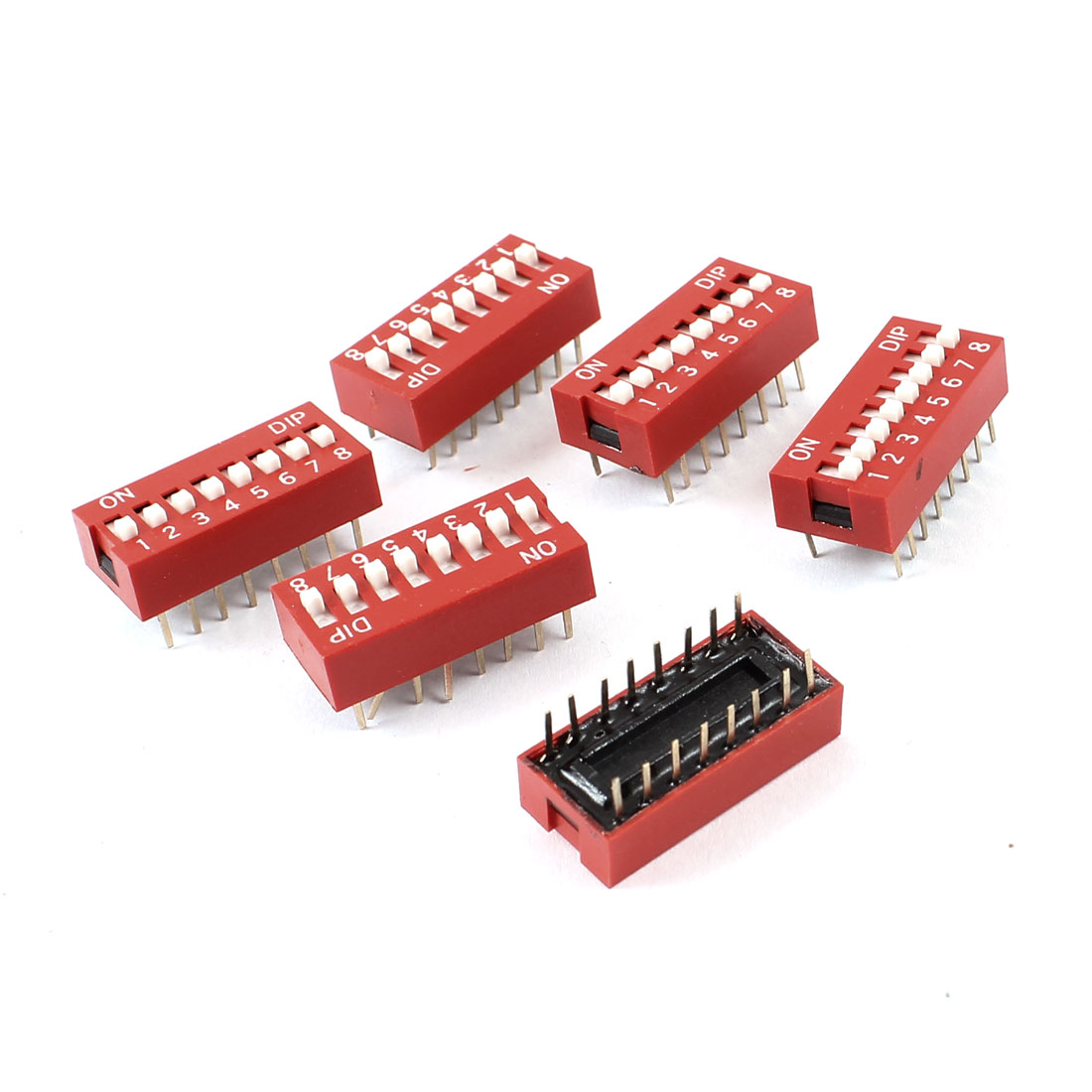 Slide Type Dual Row 16pin Terminals 8 Positions Way DIP Key Switch 6 Pcs
