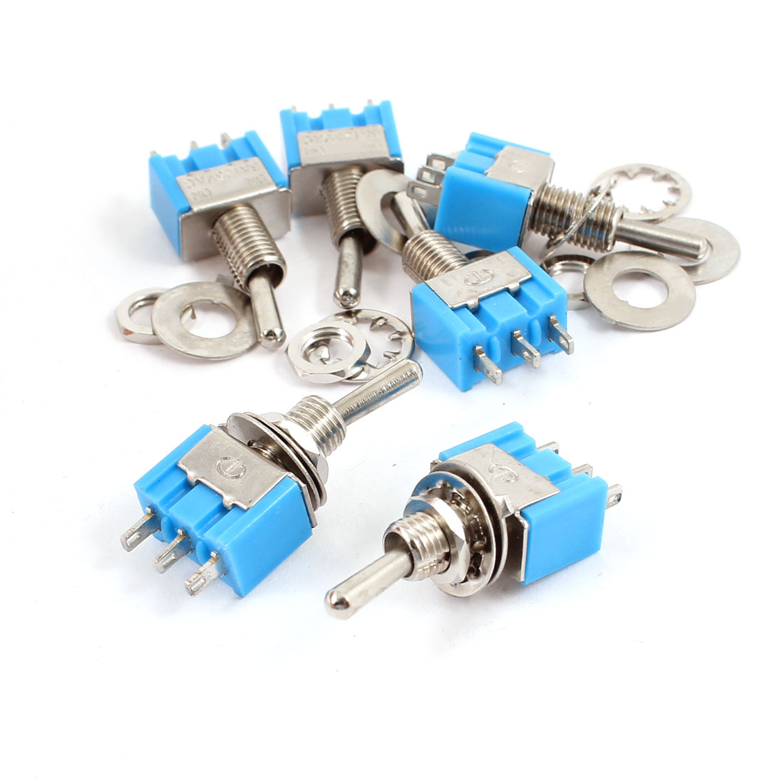 AC 125V 6A 3 Terminals Latching SPDT 2 Position On/On Toggle Switch Blue 6pcs