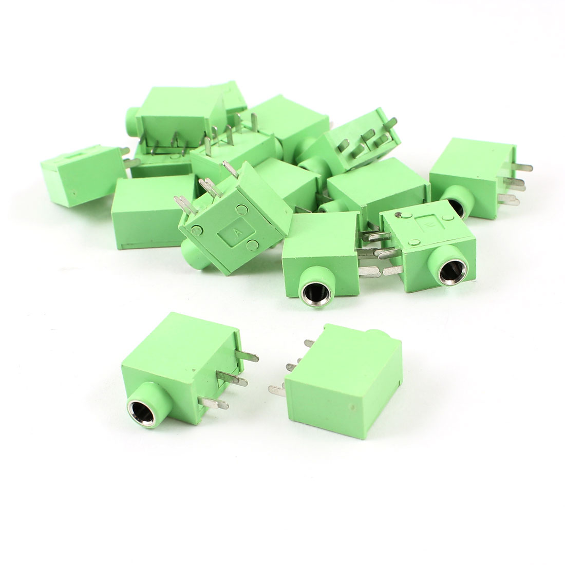 15 Pcs 5 Pin 3.5mm Female DIP Mounted Audio Stereo Jacks Socket Green for Headphone