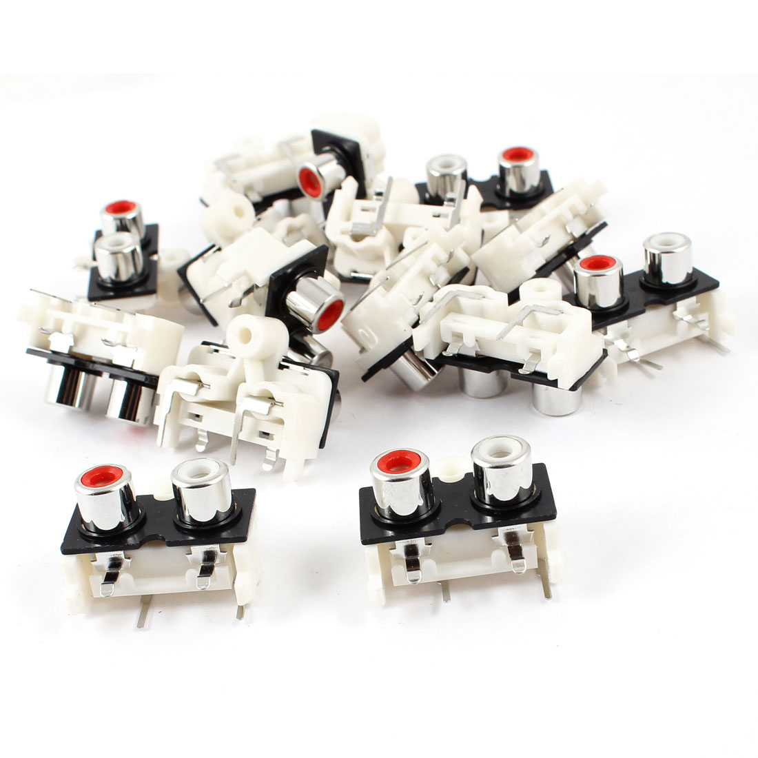 15 Pcs 2 RCA PCB Mount Female Outlet Jack Connector Socket White Red