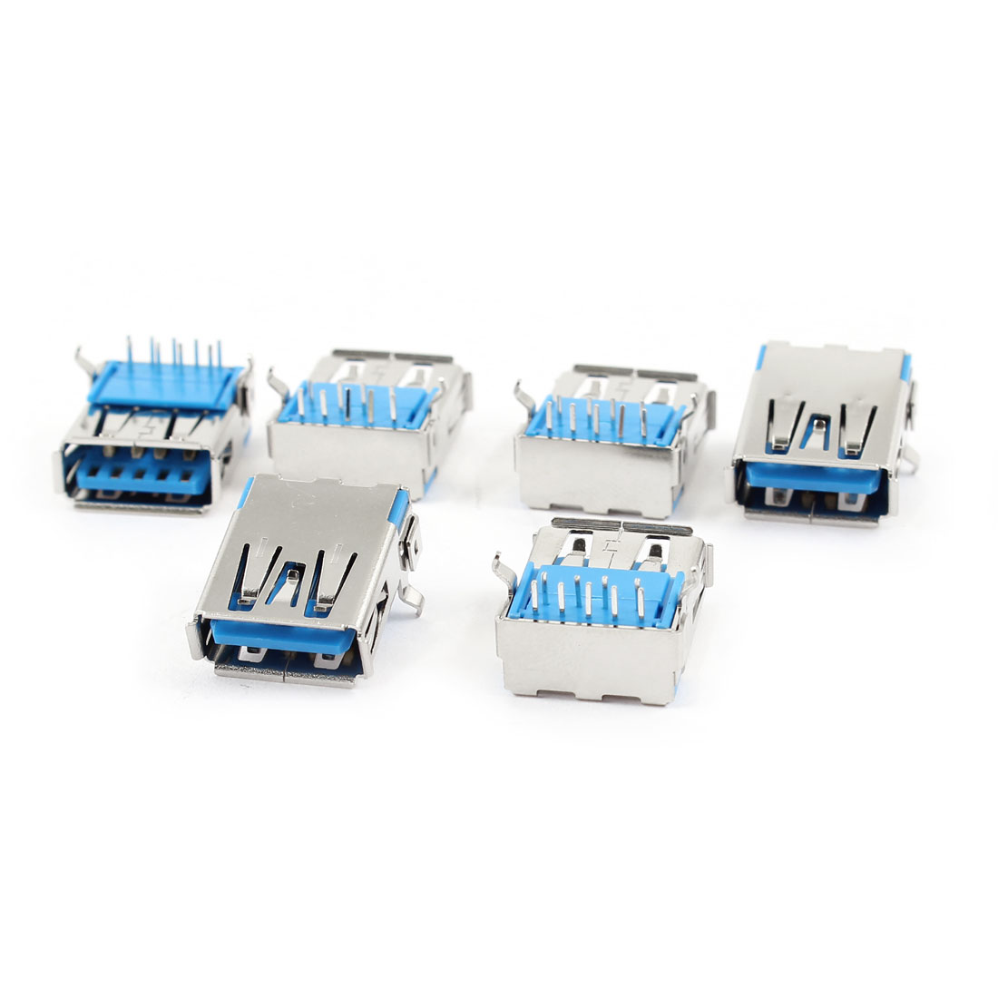 6 Pcs USB3.0 Type A Female Port 9 Pin 90 Degree DIP Panel Mount Jack Socket Connector