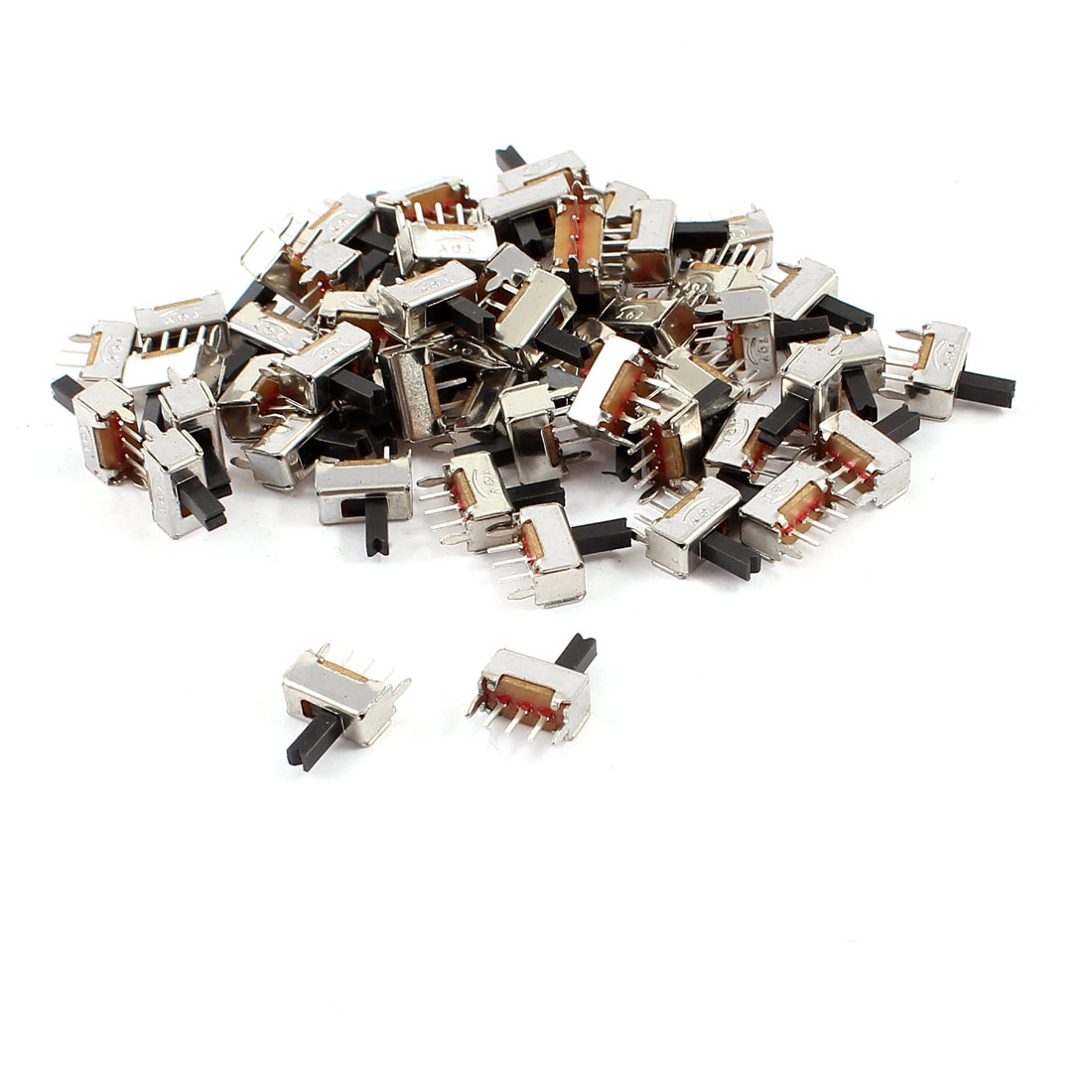 55 Pcs 3 Terminals PCB Mount 2 Position SPDT 1P2T Horizontal Mini Slide Switch
