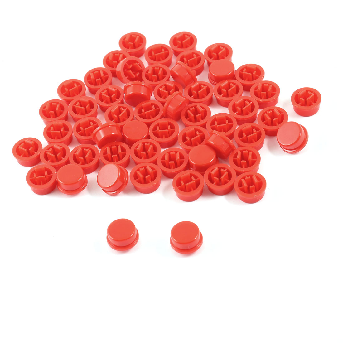 55 Pcs Round Tactile Button Caps Covers Protector Red for 12x12x7.3mm Tact Switch