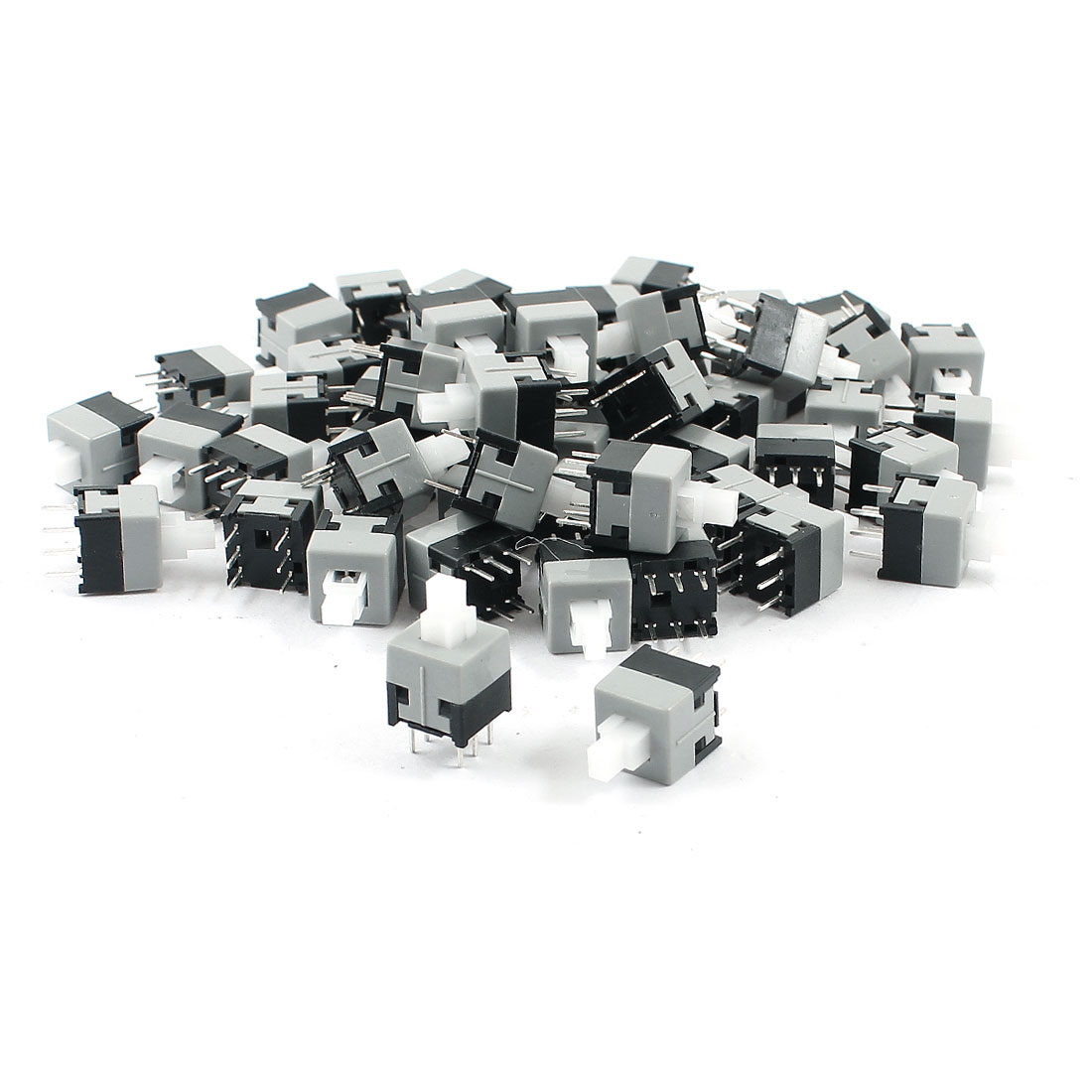 55Pcs 6 Pin Square 8.5mmx8.5mm Self-Locking DPDT Mini Push Button Switch