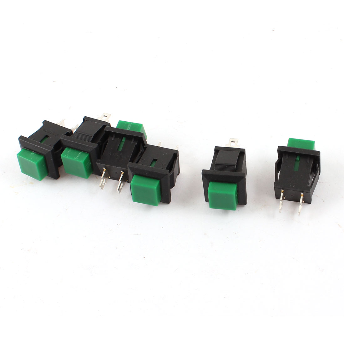 6 Pcs Momentary SPST Green Square Head Push Button Switch AC 125V 1A