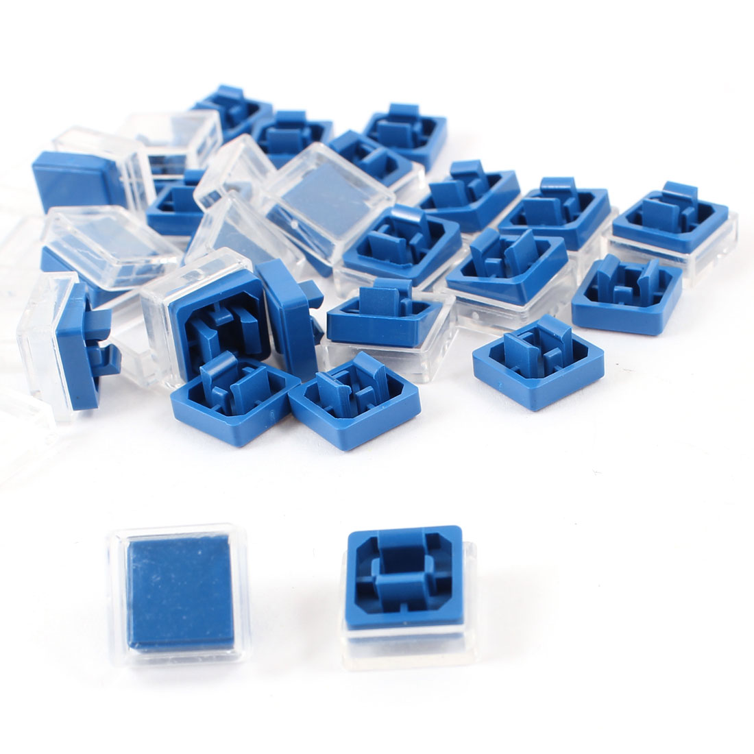 25 Pcs Square Shaped Tactile Button Caps Covers Protector Blue Clear for 12x12x7.3mm Tact Switch