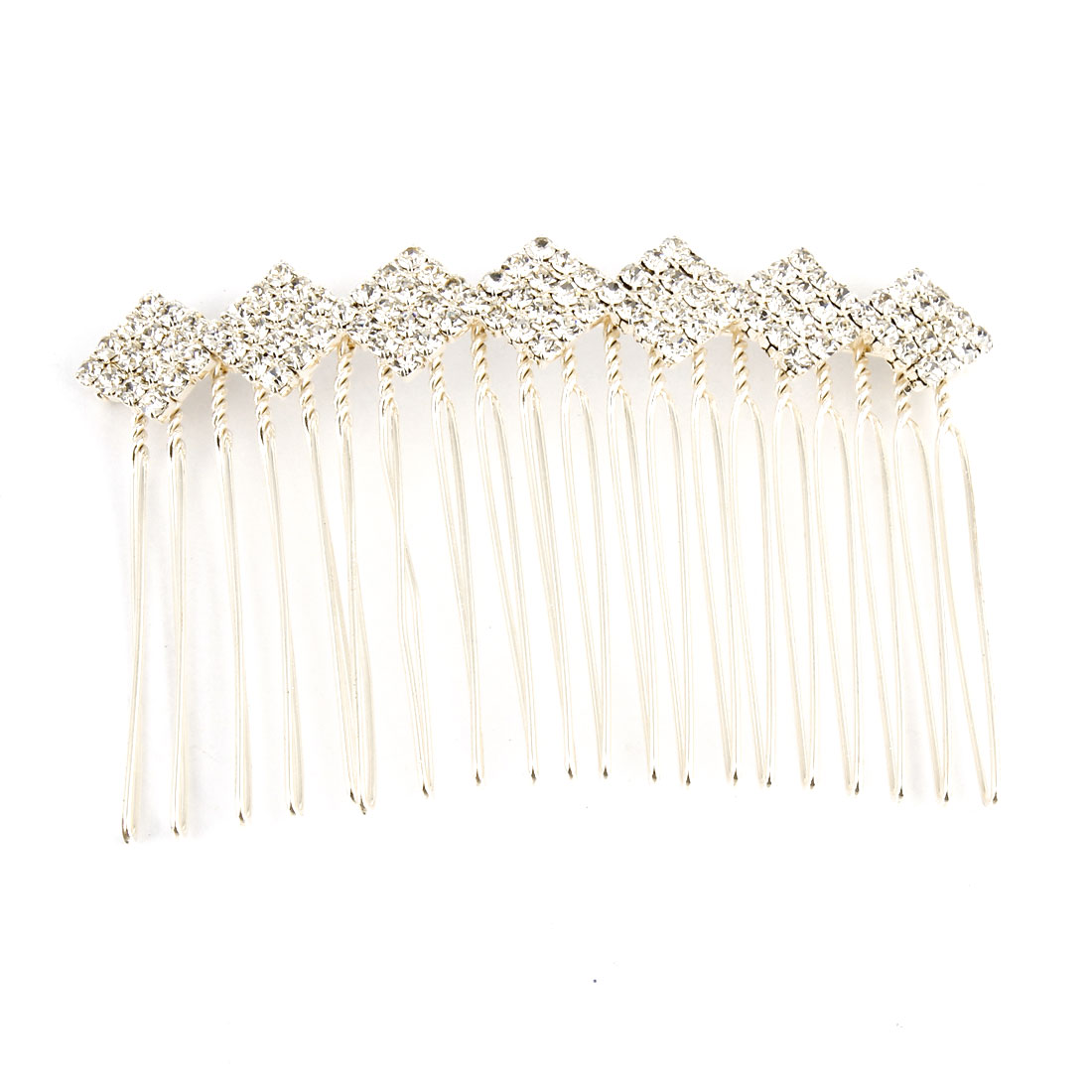 Women 20 Teeth Rhinestone Decoration Hair Clip Comb Silver Tone