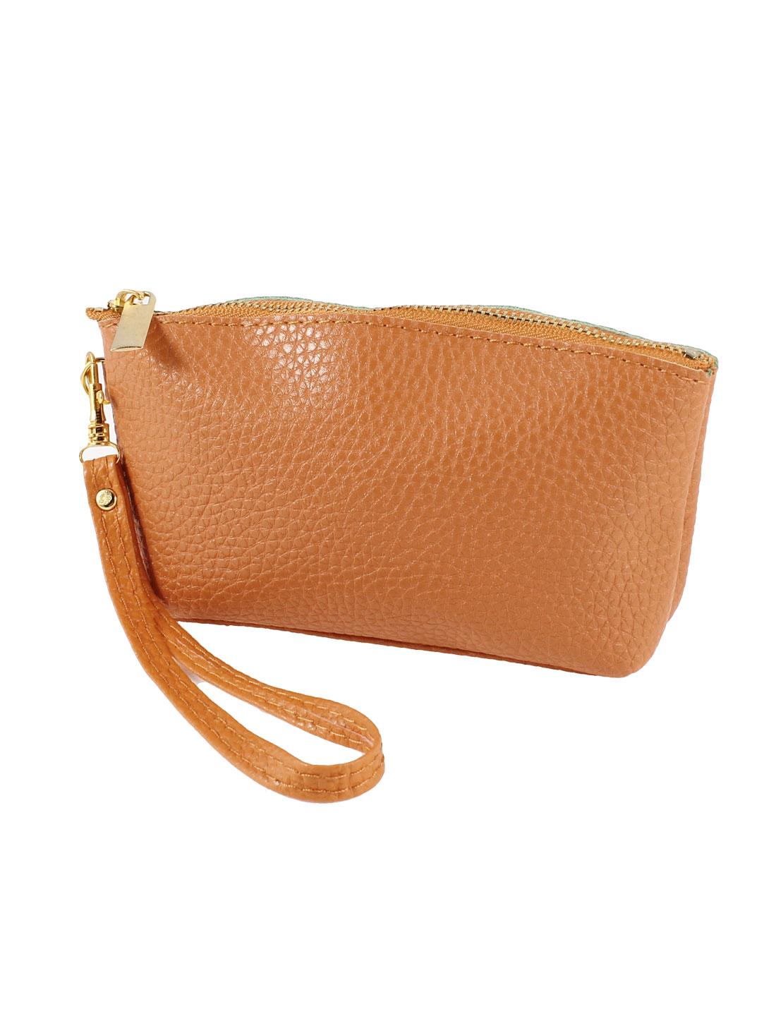 Orange Faux Leather Zipper Design 3 Compartment Strap Phone Purse