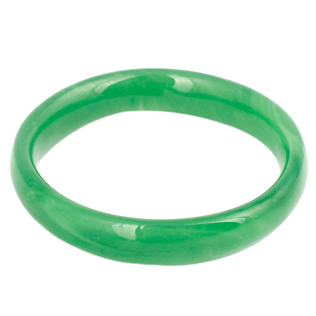 Women Fake Jade Round Shape Bangle Bracelet Green